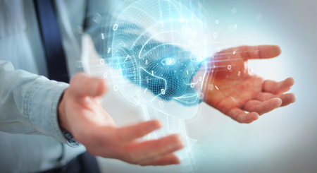 Businessman on blurred background using digital artificial intelligence head interface 3D rendering Stockfoto