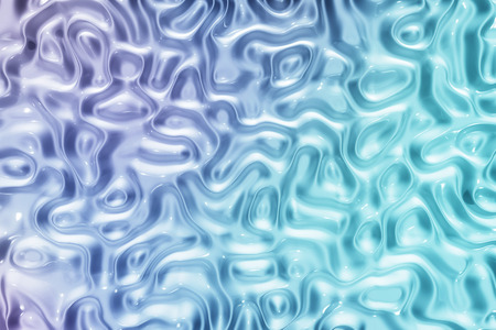 Abstract blue and purple wavy liquid texture patterns 3D rendering