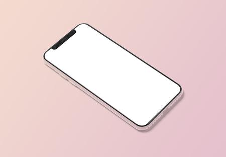 Modern smartphone mockup isolated on orange gradient background 3D rendering