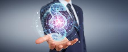 Businessman on blurred background using 3D rendering digital paragraph law symbol Stockfoto
