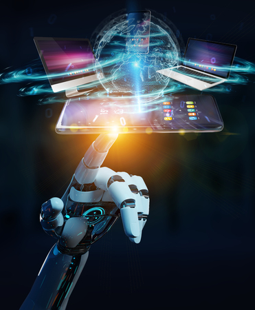 Modern devices connected to each other in robot hand 3D rendering Stockfoto