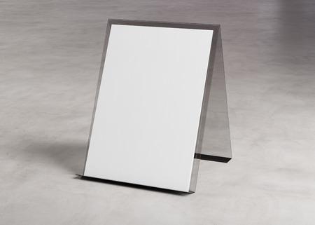 Brochure display stand mockup on concrete texture  3d rendering Stockfoto