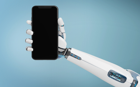 White robot hand holding modern smartphone mockup on blue background 3d rendering Stock Photo