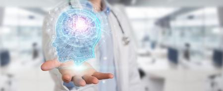 Doktor auf unscharfem Hintergrund, der künstliches Intelligenzschnittstellen-3D-Rendering schafft