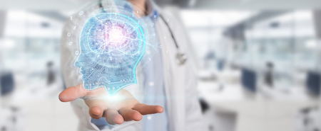 Médico sobre fondo borroso creando interfaz de inteligencia artificial 3D rendering