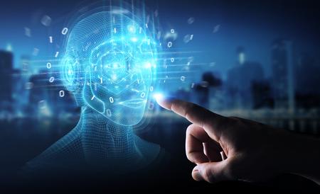 Businessman on dark background using digital artificial intelligence head interface 3D rendering