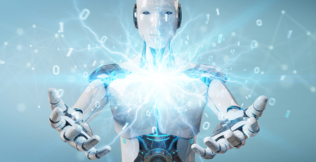 White humanoid robot on blurred background creating renewable and sustainable eco energy 3D rendering