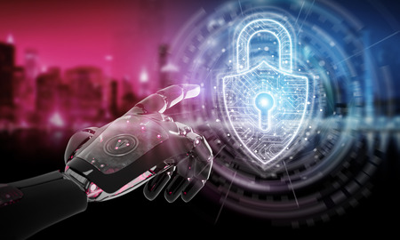 Red robot hacking a digital padlock system on dark background 3D rendering
