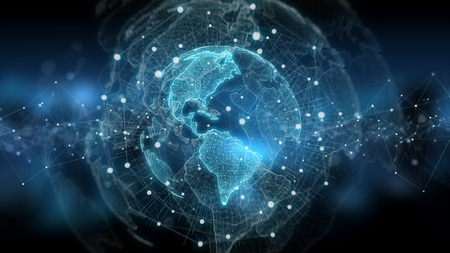 Global network on planet Earth blue background 3D rendering Stockfoto