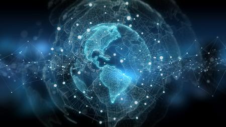 Global network on planet Earth blue background 3D rendering Banco de Imagens