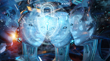 Group of female robots heads using cyber security padlock interface 3d rendering