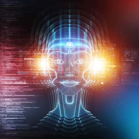 Robot cyborg head artificial intelligence learning concept 3D rendering
