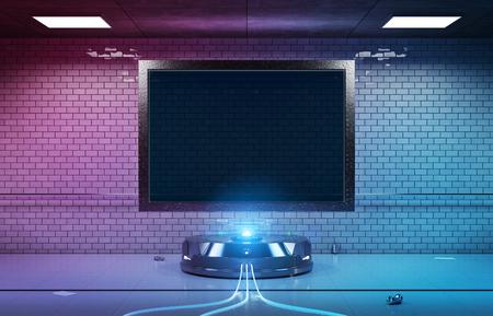 Futuristic horizontal billboard in dirty underground tube station mockup 3d rendering Imagens