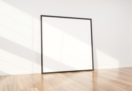 Squared black frame leaning in bright white interior with wooden floor mockup 3D rendering Imagens