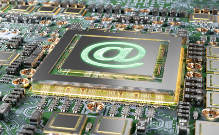 Close-up view of a modern GPU card circuit with Email icon 3D rendering 写真素材