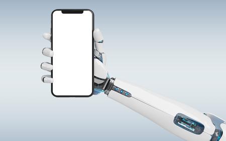 White robot hand holding modern smartphone mockup on grey background 3d rendering 版權商用圖片