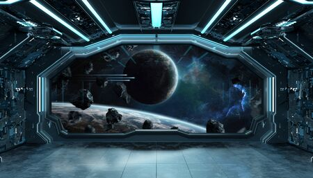 Dark blue spaceship futuristic interior with window view on space and planets 3d Фото со стока