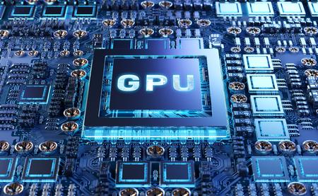 Nahaufnahme einer modernen GPU-Karte mit Schaltung und bunten Lichtern und Details 3D-Rendering Standard-Bild