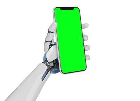 White robot hand holding modern smartphone mockup on white background 3d rendering Stock Photo