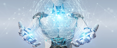 White robot on blurred background using digital triangle exploding sphere hologram 3D rendering Stock Photo