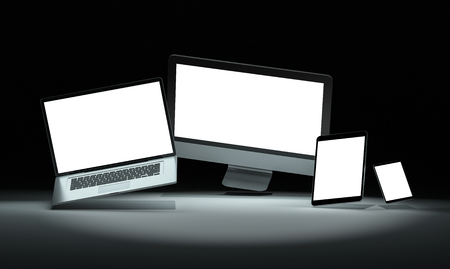 Modern devices with smartphone laptop computer and tablet in dark mockup 3D rendering