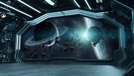 Intérieur futuriste de vaisseau spatial bleu foncé avec vue sur l'espace et les planètes éléments de rendu 3d