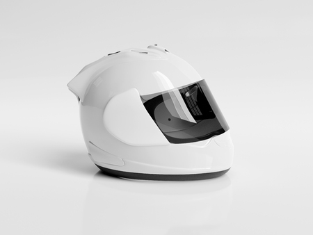 White motorcycle helmet isolated on white background Mockup 3D rendering