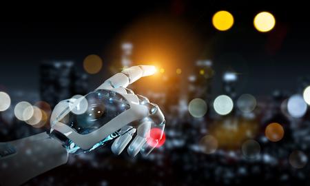 Intelligent robot machine pointing finger on dark background 3D rendering Imagens - 124576125