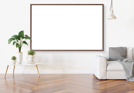 Horizontal frame hanging in bright white living room with plants and decorations mockup 3D rendering Reklamní fotografie