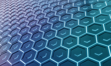 Glowing black and blue abstract hexagons background pattern on silver metal surface 3D rendering