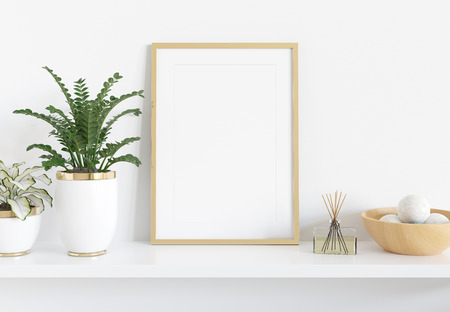 Golden frame leaning on white shelve in bright interior with plants and decorations mockup 3D rendering Фото со стока
