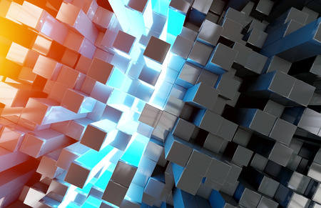 Glowing black blue and orange abstract squares background pattern 3D rendering