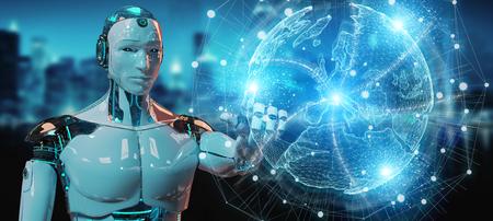White robot on blurred background using globe network hologram with Europe map 3D rendering Reklamní fotografie