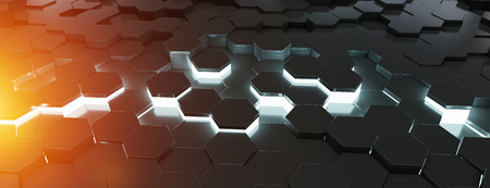 Black blue and orange abstract hexagons background pattern 3D rendering Banco de Imagens