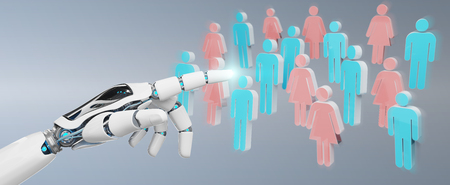 White cyborg hand on blurred background controlling group of people 3D rendering Archivio Fotografico