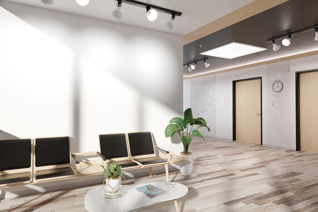 Blank white wall in bright wooden waiting room Mockup 3D rendering