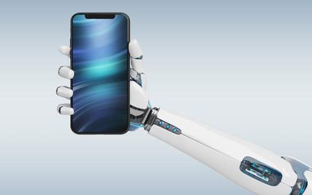 White robot hand holding modern smartphone mockup on grey background 3d rendering Stock Photo