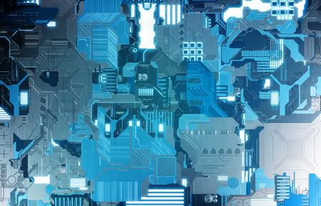 Futuristic blue tech panel texture background with lots of details
