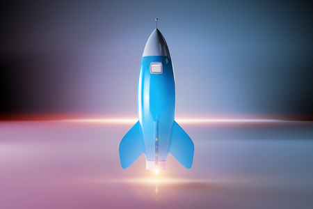 Old school style rocket isolated on dark background 3D rendering Imagens - 124579461