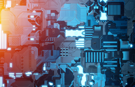Futuristic blue and orange tech panel texture background with lots of details