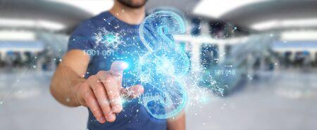 Businessman on blurred background using 3D rendering digital paragraph law symbol 版權商用圖片