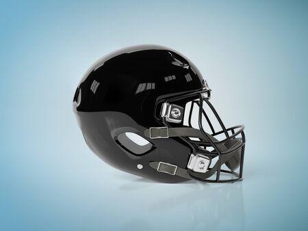 Black American football helmet isolated on blue background mockup 3D rendering
