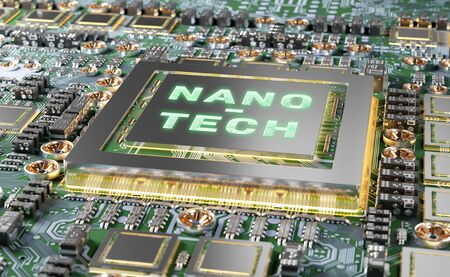 Close-up view on a colorful nanotechnology electronic system 3D rendering Reklamní fotografie