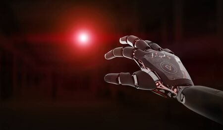 Red robot hand pointing finger on dark background 3D rendering