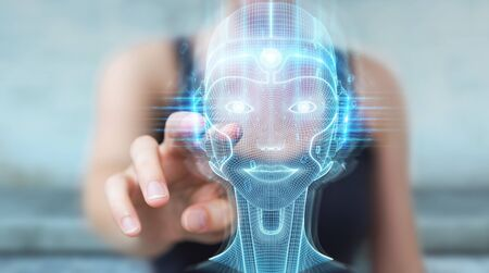 Woman on blurred background using digital artificial intelligence head interface 3D rendering Stockfoto