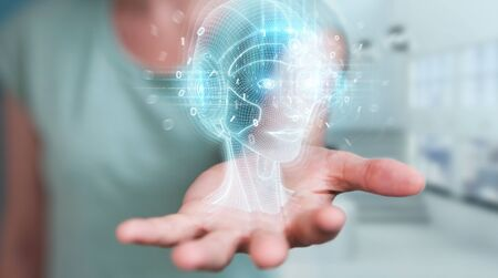 Woman on blurred background using digital artificial intelligence head interface 3D rendering
