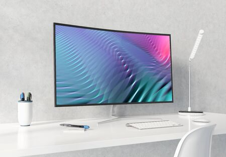 Curved monitor on white desktop and concrete interior mockup 3D rendering