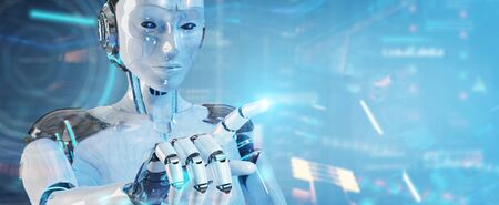 White humanoid robot on blurred background using digital technological interface with datas 3D rendering Banco de Imagens