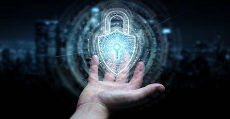 Businessman on dark background using digital padlock security interface to protect datas 3D rendering 版權商用圖片