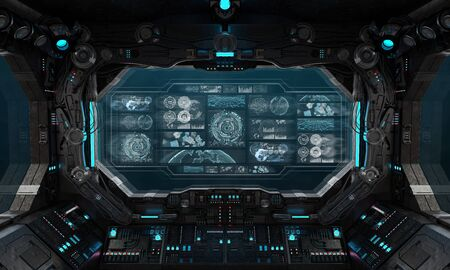 Dark spaceship interior in space with control panel digital screens 3D rendering